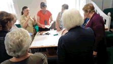Sewing Group and BSL interpreter